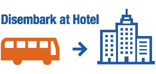 Stops at major hotels